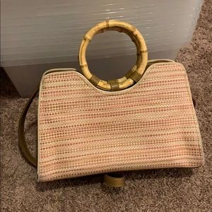 Fossil bamboo handle purse